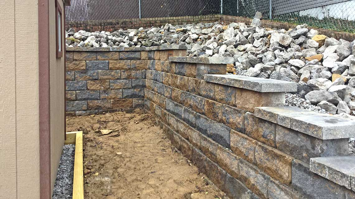 A decorative retaining wall in Bucks county PA