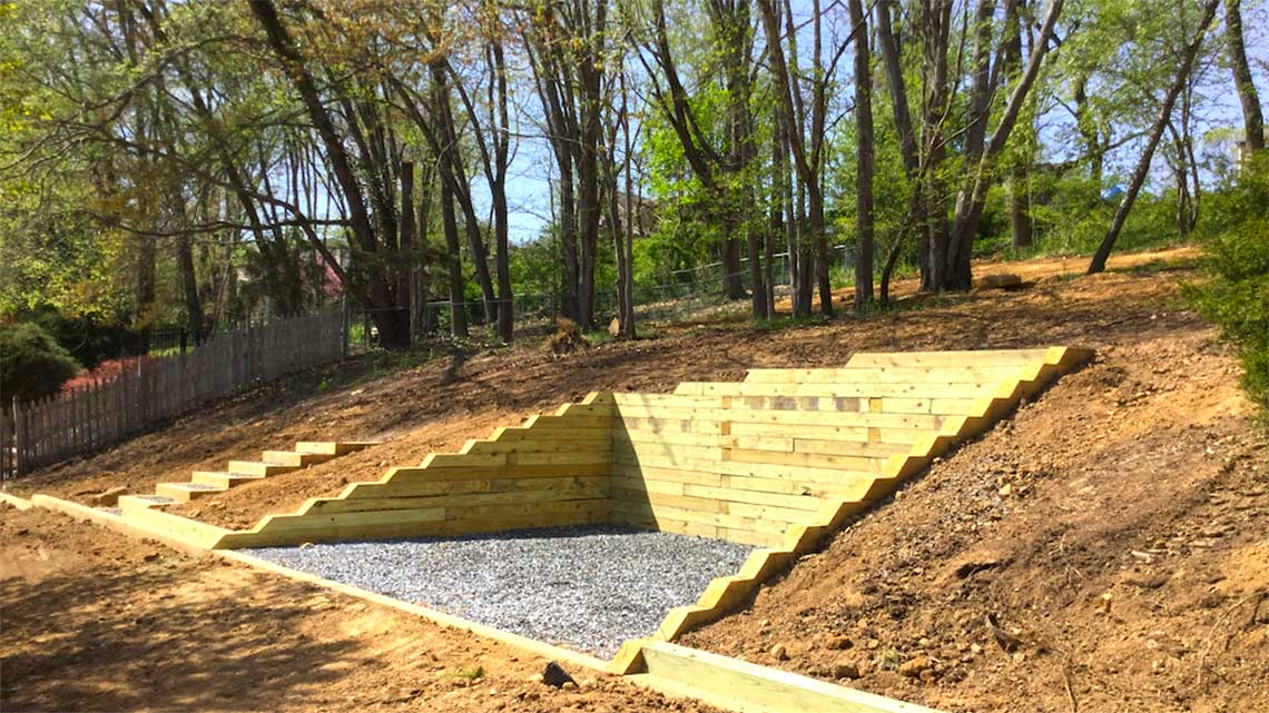 Timber Retaining Wall And Steps Langhorne Pa Bedrock Siteworks