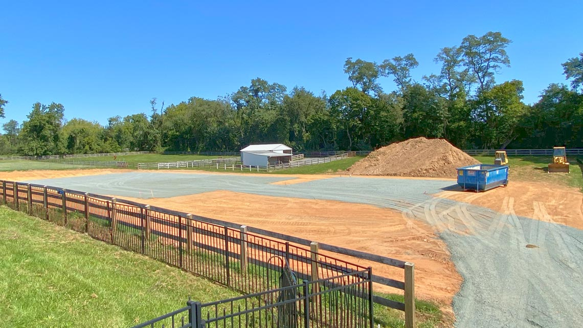 Horse arena excavation and site preparation